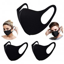 5pcs Thin Face Mask Washable Breathable Reusable Windproof Dust-Resistant Black Pack of 5