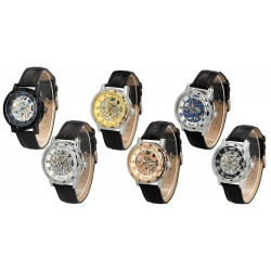 Mens Mechanical Skeleton Sport Wrist Watch with Leather Strap