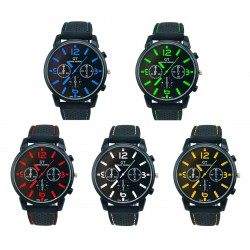Mens Military Style, Stainless Steel Casual Quartz Analog Sport Wrist Watch