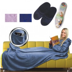 3 IN 1 CUDDLE BLANKET MEMORY FOAM SLIPPERS FLEECE SNUGGLE RUG WRAP SNUG SLEEVES